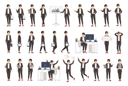 Business woman or female office worker in casual clothing in different postures, moods, situations and having various emotions in flat style cartoon character. Vectores