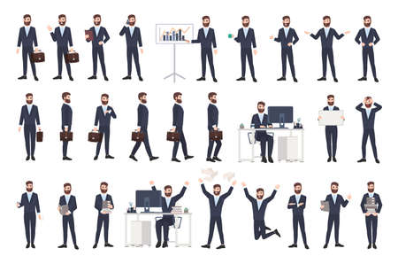 Business man, male office worker or clerk with beard in casual suit in different postures, moods, situations in flat style, cartoon character isolated on white background.
