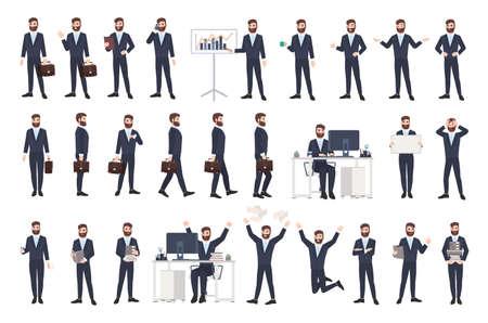 Hombre de negocios, oficinista masculino o empleado con barba en traje casual en diferentes posturas, estados de ánimo, situaciones en estilo plano, personaje de dibujos animados aislado sobre fondo blanco.