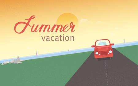 背景に乗って帆ヨットと夕焼け空の海に対して、道路に沿って赤いレトロな車夏休みと休日と旅行です。フラット スタイルでモダンな色のイラスト