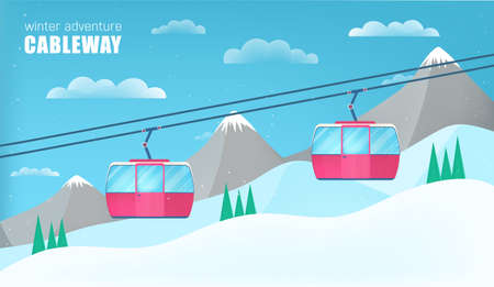 Pink cable cars moving above the ground against winter landscape with ski slope covered with snow, trees and mountains on background. Cableway or aerial lift. Colorful cartoon vector illustration. Illustration