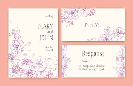 Set of gorgeous templates for save the date card wedding invitation set of gorgeous templates for save the date card wedding invitation or thank you note stopboris Image collections