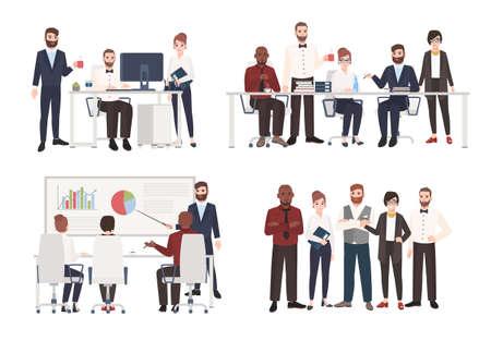 Zespół pracowników biurowych ubranych w służbowe stroje w różnych sytuacjach - praca przy komputerze, prowadzenie negocjacji, prezentacja. Płaskie kolorowe postaci z kreskówek. Ilustracji wektorowych