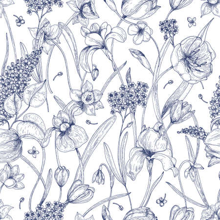 Beautiful natural seamless pattern with spring flowers hand drawn with contour lines on white background. Elegant flowering plants in bloom. Vector illustration for textile print, wrapping paper. Фото со стока - 88053581