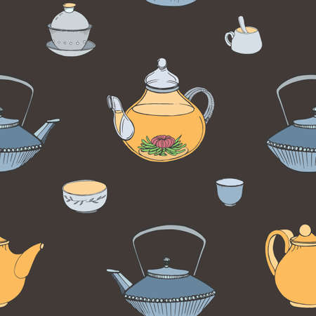 Elegant seamless pattern with hand drawn traditional Japanese tea ceremony attributes - cast-iron kettle Tetsubin, teapot, cups or bowls. Colorful vector illustration on dark background