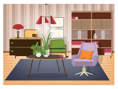 Colorful interior of living room furnished in old fashioned style. Retro furnishings and decor - swivel armchair, coffee table, lamp, radio transmitter, sideboard, pendant light. Vector illustration.