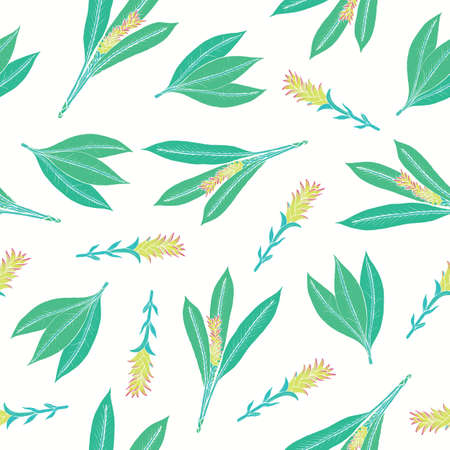 Natural pattern with turmeric leaves and inflorescences Imagens - 88082239