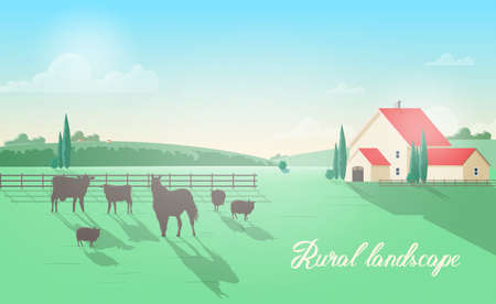 Gorgeous rural landscape with domestic animals grazing on meadow against wooden fence, farm building, green hills and clear sky on background. Beautiful pastoral scenery. Colorful vector illustration