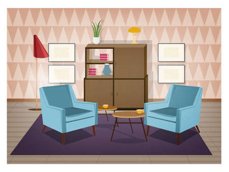 Retro Design Meubels.Interior Of Living Room Furnished In Retro Style Old Fashioned