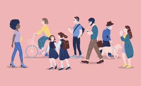 People on street. Men and women of different age passing by, walking, standing, riding bicycle, listen to music. Modern city dwellers, urban lifestyle. Hand drawn vector illustration Illustration