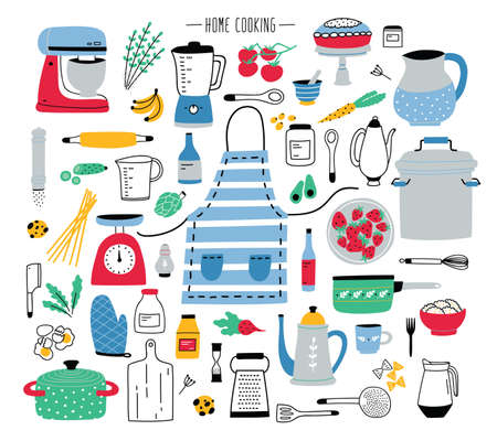 Collection of hand drawn kitchen utensils vector illustration.