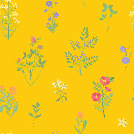 Bright colored seamless pattern with gorgeous wild blooming flowers or flowering herbaceous plants on yellow background. Botanical vector illustration for fabric print, wallpaper, wrapping paper Ilustração