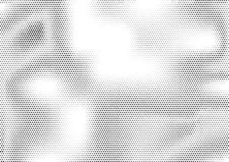 Futuristic abstract horizontal semitone background with unevenly accumulated dots of different size. Ilustrace