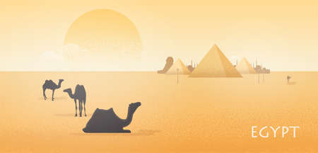 Gorgeous Egypt desert landscape with silhouettes of camels standing and lying against Giza pyramid complex, statue of Great Sphinx and large scorching sun on background. Colorful vector illustration Illustration