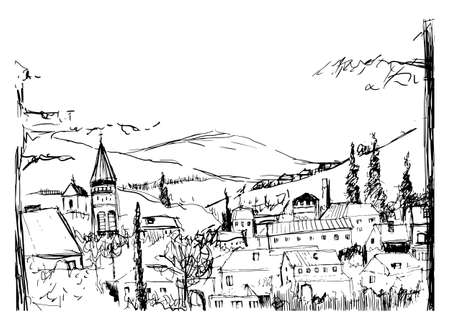 Rough black and white sketch of small ancient Georgian town.