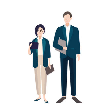 Couple of people dressed in business clothes or smart suits. Pair of male and female clerks or office workers isolated on white background. Flat colorful cartoon characters. Vector illustration Illustration