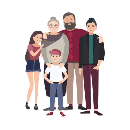 Illustration of Happy Family with Grandfather, grandmother and their teenage grand kids standing together.