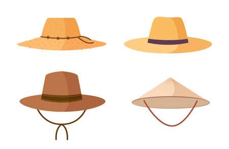 Inzameling van tuinman, landbouwer of landbouwarbeistrooien hoeden op witte achtergrond wordt geïsoleerd die. Hoofdtooien, hoofdaccessoires van verschillende typen en stijlen. Kleurrijke cartoon vectorillustratie.