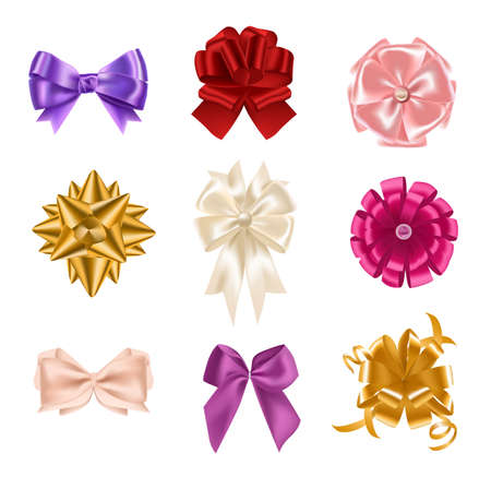 Collection of elegant colorful realistic silk bows of different types isolated on white background. Set of beautiful holiday decorative elements, shiny festive gift decorations. Vector illustration. Illusztráció
