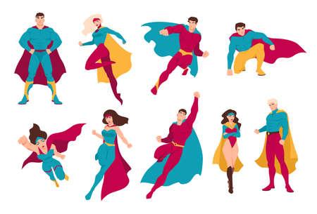 Collezione di supereroi. Bundle di uomini e donne con super poteri. Set di personaggi di fumetti o fumetti maschili e femminili che indossano costumi e cappe attillati. Illustrazione vettoriale piatto colorato.