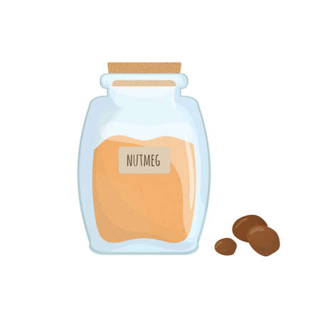 Ground nutmeg stored in clear jar isolated on white background. Piquant condiment, food spice, cooking ingredient in transparent kitchen container. Colored vector illustration. Illustration