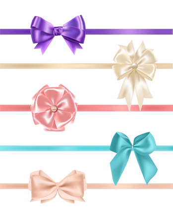 Bundle of gorgeous realistic satin bows and ribbons. Ilustração