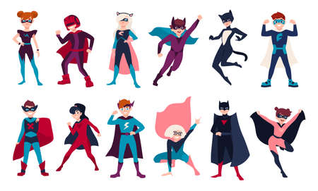 Bundle of kids superheroes. Bundle of boys and girls with super powers. Set of children cartoon or comic characters wearing tight-fitting costumes and capes. Illustration