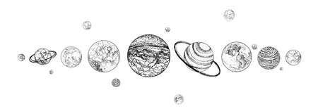 Planets lined up in row. Solar system drawn in monochrome colors. Gravitationally bound celestial bodies in outer space. Illustration