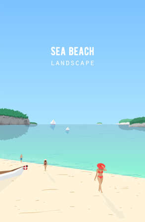 repose: Seascape with people walking on sand beach and sail boats floating in azure sea. Seaside landscape with ocean coast and yachts on horizon. Summer vacation, tropical resort. Vector illustration.