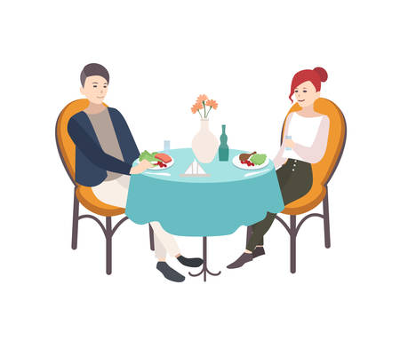 Pair of young man and woman dressed in stylish clothes sitting at table decorated by tablecloth and flowers in vase and having lunch. Modern couple dining at restaurant. Cartoon vector illustration. Vectores