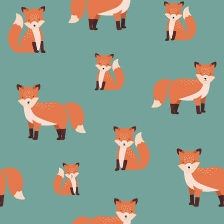 Gorgeous seamless pattern with sitting and standing red cute fox on green background. Backdrop with funny cartoon forest animal. Vector illustration for fabric print, wallpaper, wrapping paper. Ilustração
