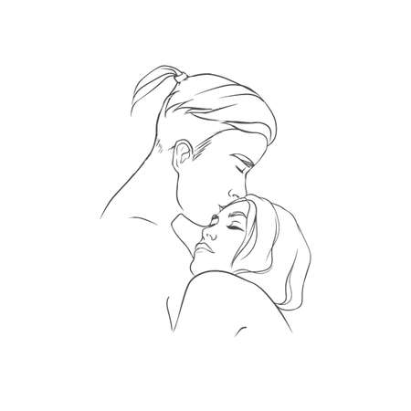 Hugging boyfriend and girlfriend isolated on white background. Man embracing and kissing woman on forehead hand drawn with contour lines in monochrome colors. Couple in love. Vector illustration.