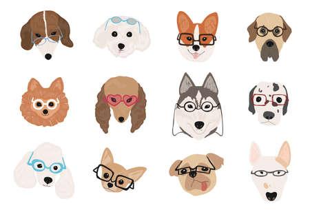 Colección de perros lindos de diversas razas con gafas y gafas de sol de diferentes estilos. Paquete de caras o cabezas animales divertidos del animal doméstico de la historieta aisladas en el fondo blanco. Ilustración vectorial