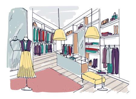 Gekleurde tekening uit de vrije hand van trendy kledingboetiekinterieur met meubels, vitrines, etalagepoppen gekleed in modieuze kleding. Hand getrokken mode winkel of showroom. Vector illustratie.
