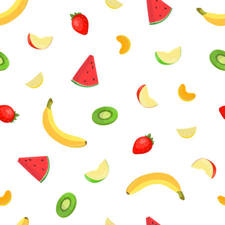 Colorful fresh delicious fruits and berries pattern illustration.  イラスト・ベクター素材