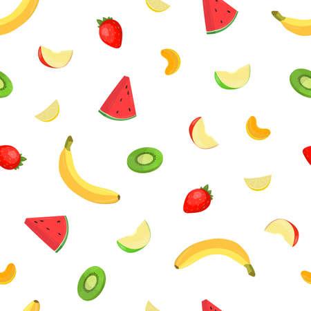 Bunte frische köstliche Frucht- und Beerenmusterillustration. Vektorgrafik