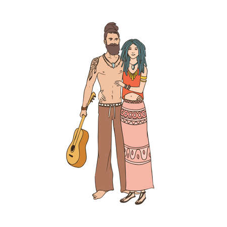 Pair of young hippies in cartoon characters illustration.