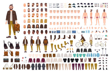 Set of male cartoon character body parts, skin types, facial gestures, hairstyles, trendy clothing, stylish accessories design illustration.