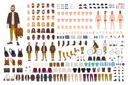 Set di parti del corpo del personaggio dei cartoni animati maschile, tipi di pelle, gesti facciali, acconciature, abbigliamento alla moda, illustrazione di design di accessori alla moda.