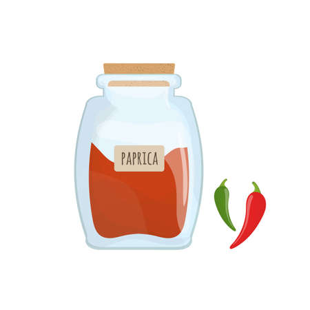 Red paprika powder stored in clear glass jar isolated on white background. Piquant condiment, tasty food spice, spicy cooking ingredient in transparent kitchen container. Colorful vector illustration.