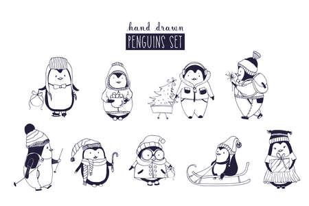 Bundel van babyjongen en meisjepuïns die de winterkleding en hoeden dragen.