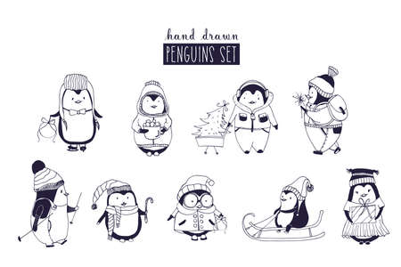 Bundle of baby boy and girl penguins wearing winter clothing and hats.
