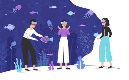 Tres personas con gafas de realidad virtual y de pie dentro de un acuario gigante lleno de peces exóticos. Personajes de dibujos animados masculinos y femeninos disfrutando de efectos de auriculares VR. Ilustración de vector colorido. Ilustración de vector