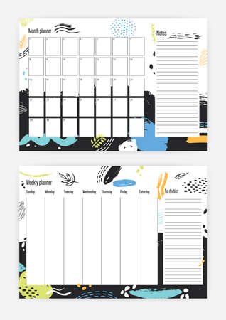 Collection of monthly and weekly planner templates.