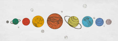 Colorful planets of Solar system arranged in horizontal row against monochrome background.