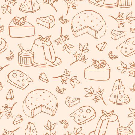 Modèle sans couture monochrome avec fromage de différentes sortes - ricotta, roquefort, brie, maasdam. Toile de fond avec des collations délicieux dessinés à la main avec des lignes de contour. Illustration vectorielle pour l'impression textile. Vecteurs