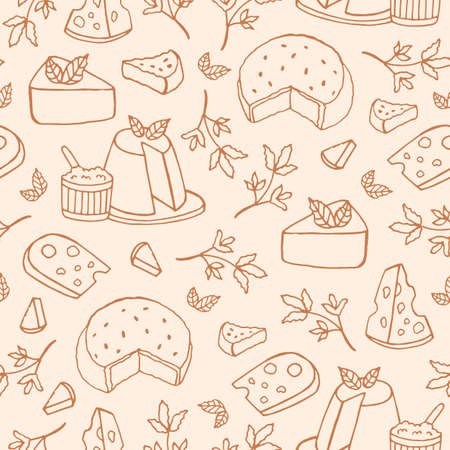 Monochrome seamless pattern with cheese of different kinds - ricotta, roquefort, brie, maasdam. Backdrop with delicious snacks hand drawn with contour lines. Vector illustration for textile print.