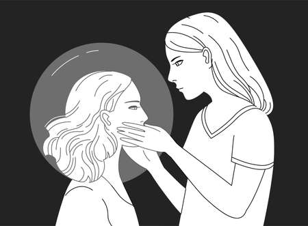 introversion: Young female character holding head of another woman hand drawn in black and white colors. Concept of empathy, psychological aid, self reflection, introspection. Monochrome vector illustration.