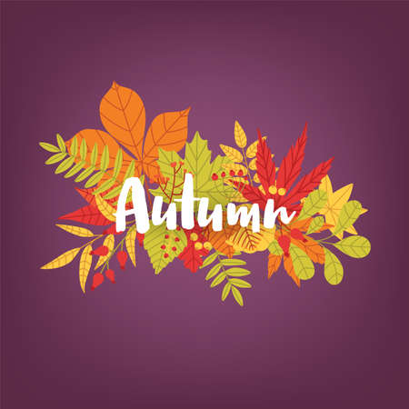 Hand written calligraphic word Autumn against bunch of colorful fallen tree leaves and branches on background. Gorgeous lettering and bright colored foliage. Seasonal natural vector illustration.
