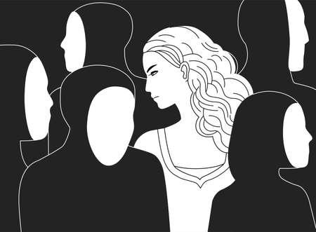 Piękna smutna długowłosa kobieta otoczona czarnymi sylwetkami ludzi bez twarzy. Pojęcie samotności w tłumie, alienacja, wyobcowanie, obojętność. Monochromatyczna wektorowa ilustracja.